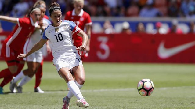 The U. S. women's national team poured on the goals in Sunday afternoon's 51 win over Russia at BBVA Compass Stadium in Houston.