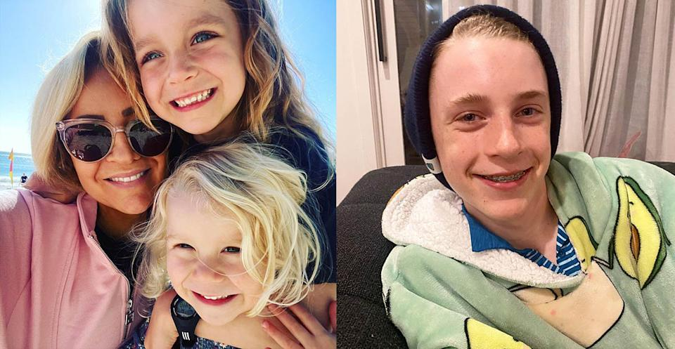 Carrie Bickmore with her three children. Photo: Instagram/bickmorecarrie.