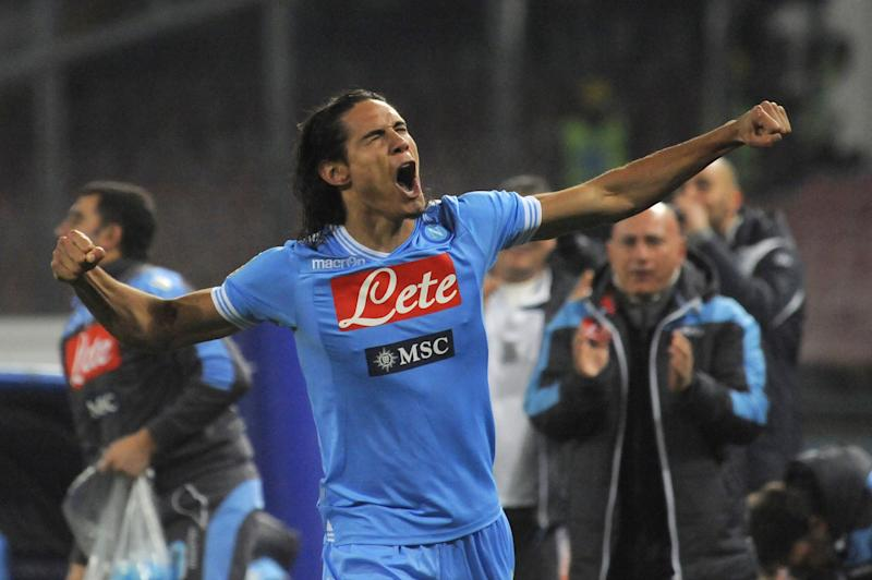 Napoli Uruguayan striker Edinson Cavani celebrates after scoring, during a Serie A soccer match between Napoli and AS Roma, at the Naples San Paolo stadium, Sunday, Jan. 6, 2013. (AP Photo/Salvatore Laporta)