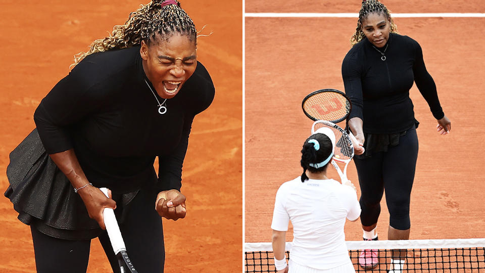 Serena Williams, pictured here after winning her first round match at the French Open.