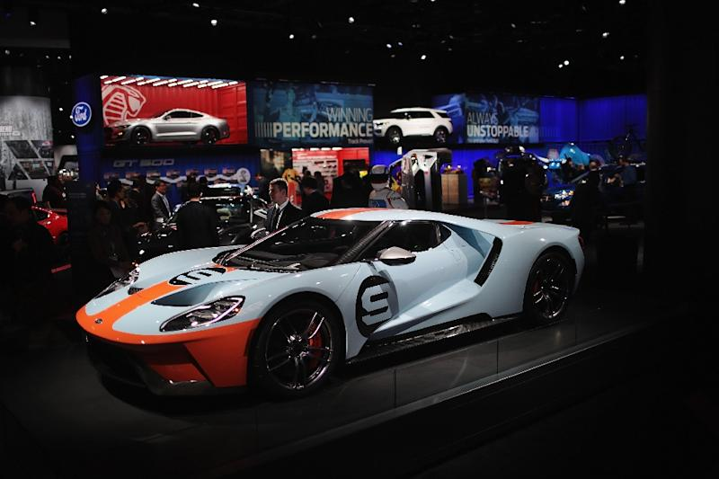 Ford shows off their GT at the North American International Auto Show (NAIAS), one of the sporty options on display (AFP Photo/SCOTT OLSON)