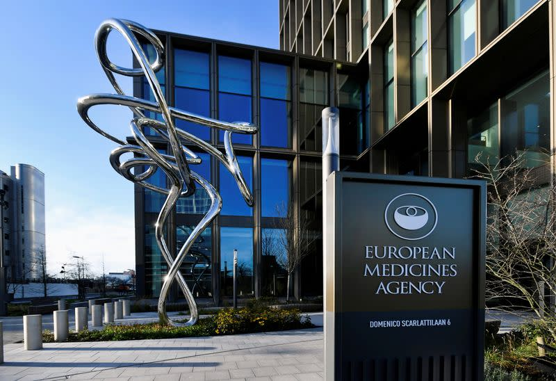 FILE PHOTO: Exterior of EMA, European Medicines Agency is seen in Amsterdam
