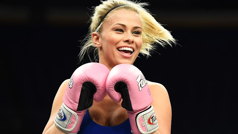 Paige VanZant, pictured here at an open UFC workout in 2018.