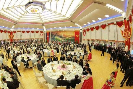 The Central Committee and Central Military Committee of the Workers Party of Korea hold a celebration for nuclear scientists and engineers who contributed to a hydrogen bomb test, September 2017.   KCNA via REUTERS