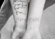 """<p>The soon-to-be newlyweds made things (kind of) official with this adorable couples tattoo that pays homage to <em><a href=""""https://www.seventeen.com/celebrity/movies-tv/a23513093/toy-story-4-emotional-tim-allen/"""" rel=""""nofollow noopener"""" target=""""_blank"""" data-ylk=""""slk:Toy Story"""" class=""""link rapid-noclick-resp"""">Toy Story</a>. </em>Seriously, does it get cuter than this? </p>"""