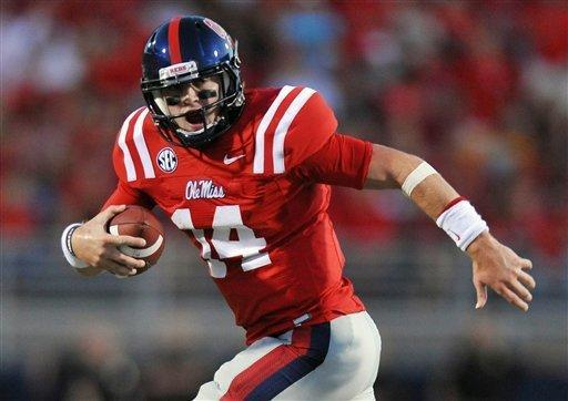 Mississippi quarterback Bo Wallace (14) runs against UTEP during an NCAA college football game Saturday, Sept. 8, 2012, in Oxford, Miss. (AP Photo/The Oxford Eagle, Bruce Newman)