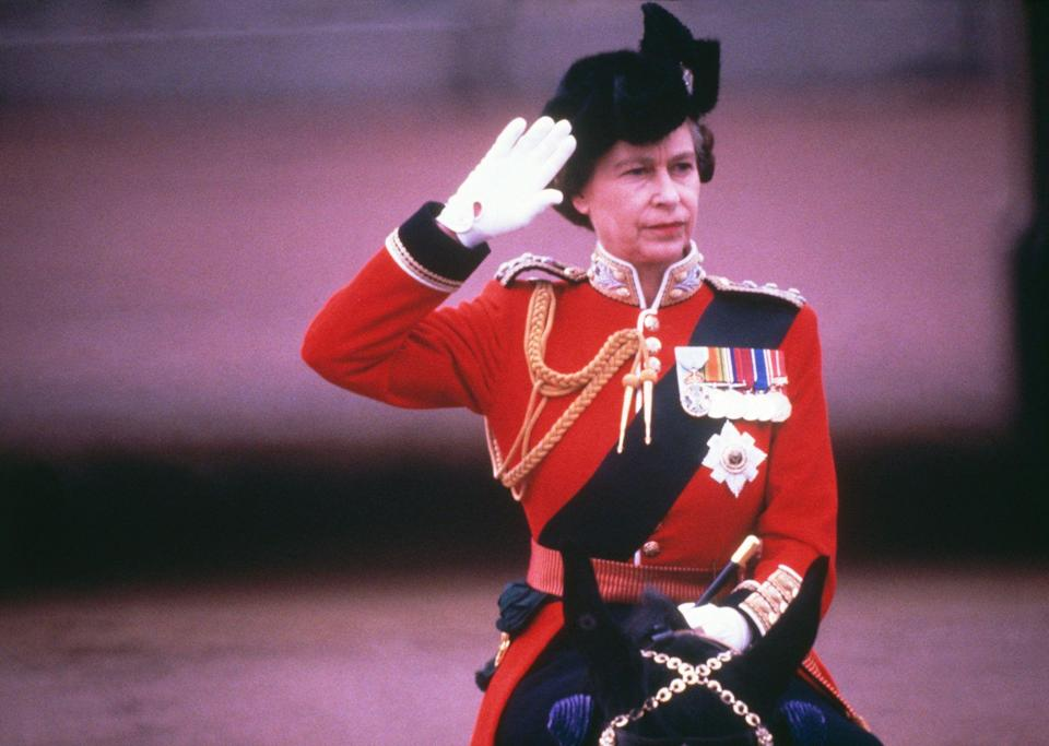<p>Queen Elizabeth saluting from a horse at the 1979 Trooping The Colour.</p>
