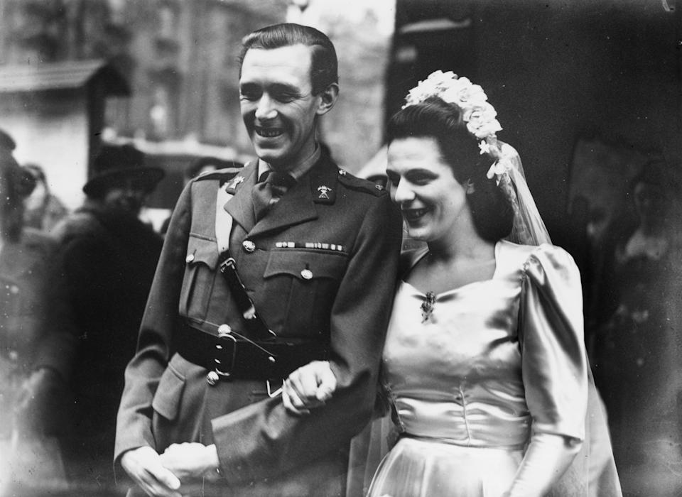 British army officer Major Bruce Shand (1917 - 2006) of the 12th Royal Lancers, marries Rosalind Cubitt, daughter of Roland Cubitt, 3rd Baron Ashcombe, at St Paul's Church in Knightsbridge, London, 2nd January 1946. The couple are the parents of Camilla, Duchess of Cornwall. (Photo by Keystone/Hulton Archive/Getty Images)