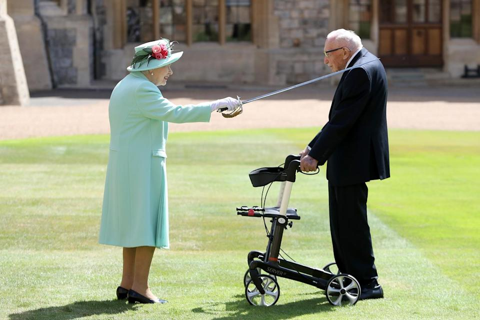 """<p>The Queen extended her sword across the shoulder of Captain Tom Moore at Windsor Castle in May 2020, making the 100-year-old veteran a Knight Bachelor for his incredible efforts raising more than $46 million for National Health Service charities amid the COVID-19 pandemic.</p> <p>""""I had been itching to photograph something over this quieter period, and this engagement was the first in a while. It could not have been more moving,"""" writes Jackson, who called Captain Tom's story """"a much-needed beacon of light and inspiration.""""</p>"""