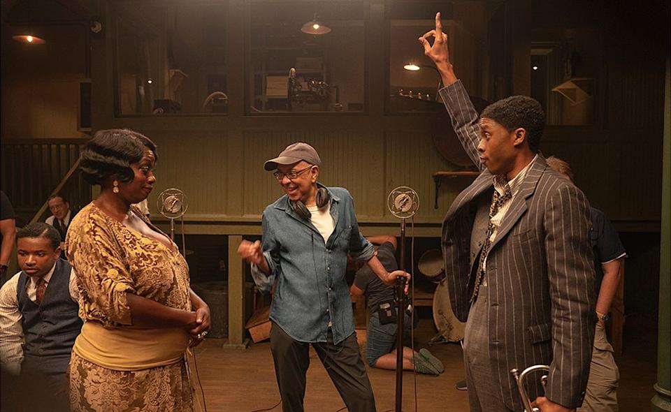Viola Davis, George C. Wolfe and Chadwick Boseman on the set of Ma Rainey's Black Bottom