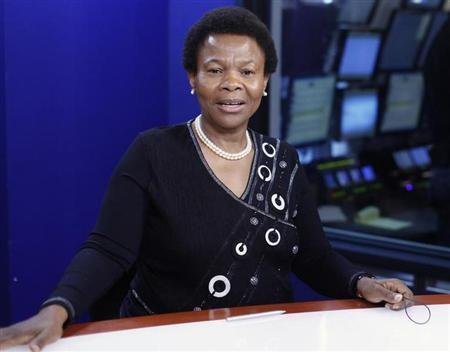 South Africa's Minister of Mineral Resources, Susan Shabangu, speaks during an interview at the Reuters Global Mining and Steel Summit in New York