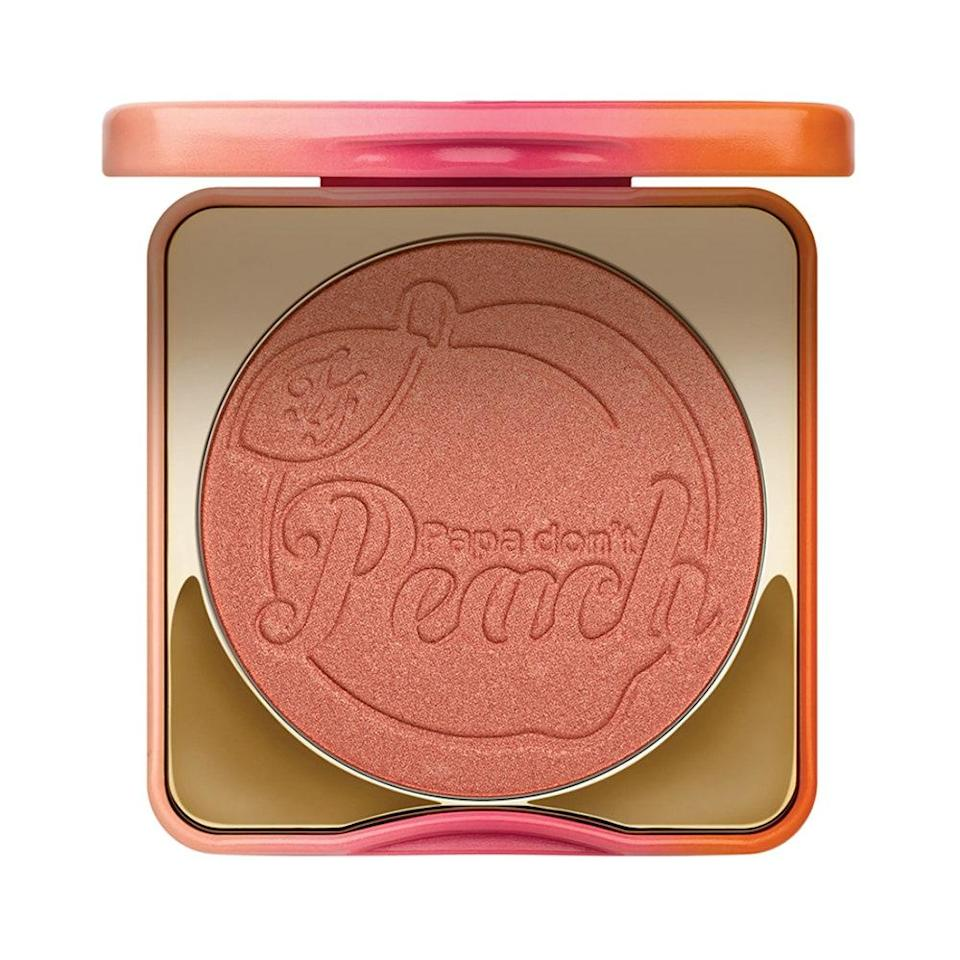 """<p><strong>Warm Peach</strong></p> <p>Finding a blush for olive skin can be tricky because of its green undertones. Scope out warm tones, like <a href=""""http://www.allure.com/story/too-faced-papa-dont-peach-blush?mbid=synd_yahoo_rss"""" rel=""""nofollow noopener"""" target=""""_blank"""" data-ylk=""""slk:Too Faced Papa Don't Peach"""" class=""""link rapid-noclick-resp"""">Too Faced Papa Don't Peach</a>. """"Some cooler blushes can tend to look ruddy on it, but using a warm peach shade will make olive skin glow,"""" says Ciucci.</p> <p><strong>$30</strong> (<a href=""""https://shop-links.co/1719136760282291994"""" rel=""""nofollow noopener"""" target=""""_blank"""" data-ylk=""""slk:Shop Now"""" class=""""link rapid-noclick-resp"""">Shop Now</a>)</p>"""