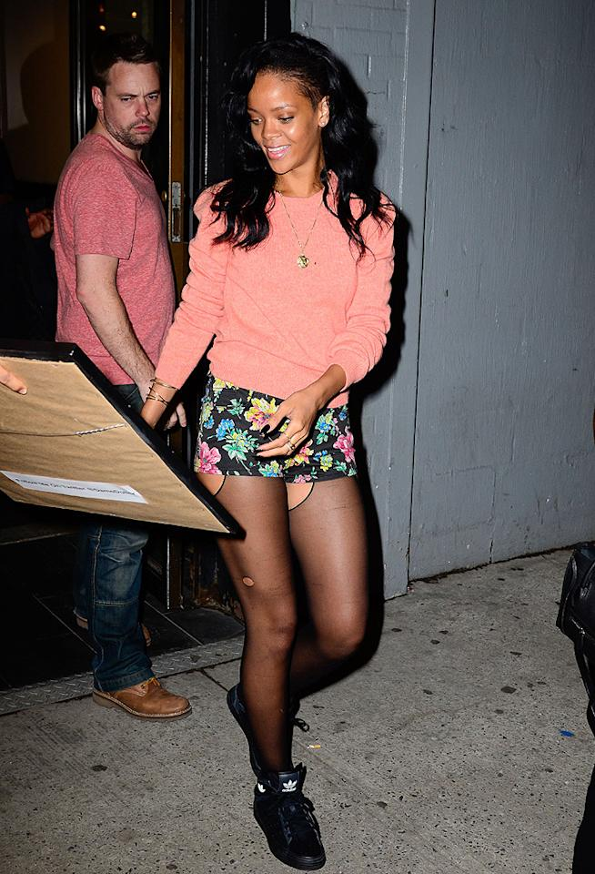Once again, Rihanna finds herself in What Were They Thinking?!. Will the pop princess ever learn that intentionally tattered stockings are far from fashionable? Our guess is no. (5/1/2012)