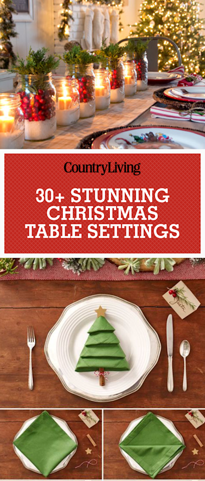 """<p>Save these stunning Christmas table settings for later! Don't forget to <a rel=""""nofollow"""" href=""""https://www.pinterest.com/countryliving/"""">follow Country Living on Pinterest</a> for more great Christmas decorating ideas. </p>"""