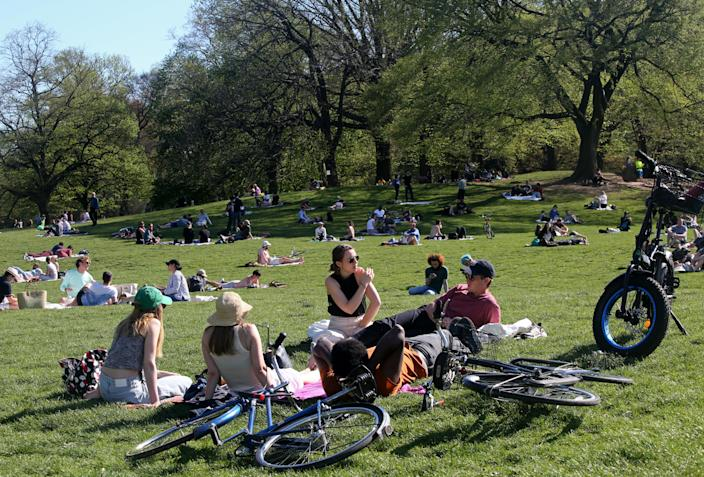 New Yorkers in Brooklyn's Prospect Park on May 2. (Yana Paskova/Getty Images)
