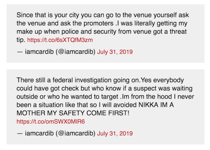 cardi b cancel tour date indiana security tweets Cardi B cancels Indianapolis concert due to security threat
