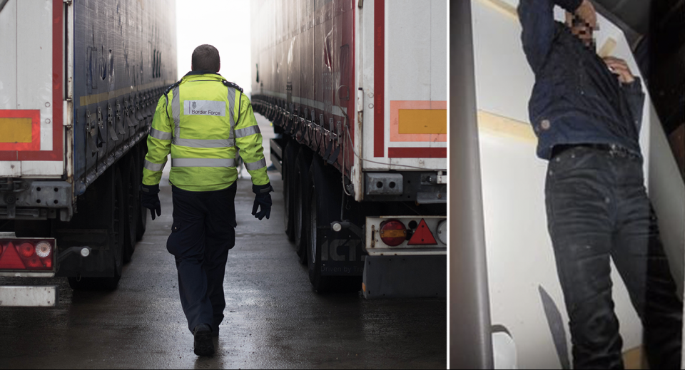Left: Border Force staff check a lorry for migrants with CO2 testing technology at the Port of Tilbury in Essex (PA). Right: A 21-year-old man has been jailed for attempting to smuggle migrants into the UK - hidden inside sofas. (SWNS)