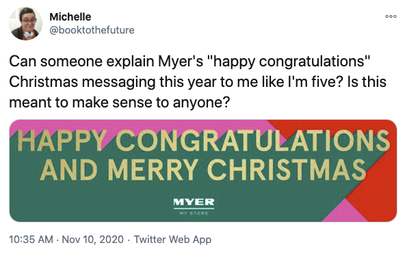 Person on Twitter writing about the Myer ad