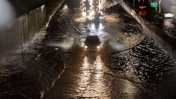 PHOTO: A severe thunderstorm rolled through the city of Detroit bringing a downpour that flooded I-94 and many other roadways in and around the city as well as resident's homes, July 24, 2021. (Adam J. Dewey/NurPhoto via Shutterstock)