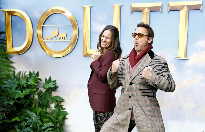 "Cast members Robert Downey Jr. and his wife and producer Susan Downey pose at a special screening of ""Dolittle"" in London, Britain, January 25, 2020. REUTERS/Henry Nicholls"