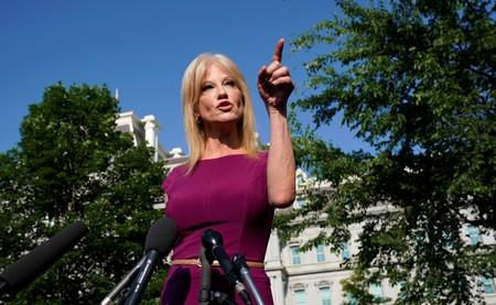Kellyanne Conway speaks to reporters at the White House in Washington