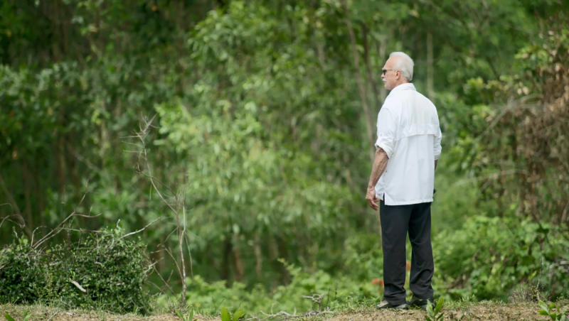 In an image provided by ESPN from video, Rocky Bleier stands in Hiep Duc Valley, about 35 miles (56 kilometers) south of Danang in Vietnam, on Aug. 20, 2018. Three months into his deployment to Vietnam, Bleier was shot through the thigh and suffered a grenade blast to his foot. Doctors told him that hed never play football again. Steelers owner Art Rooney supported Bleier by placing him on injured reserve rather than cutting him from the team. Bleier then defied the odds, returning to football as a star running back on the Steel Curtain Steelers teams of the 1970s and becoming the only war veteran to have four Super Bowl rings. (ESPN via AP)