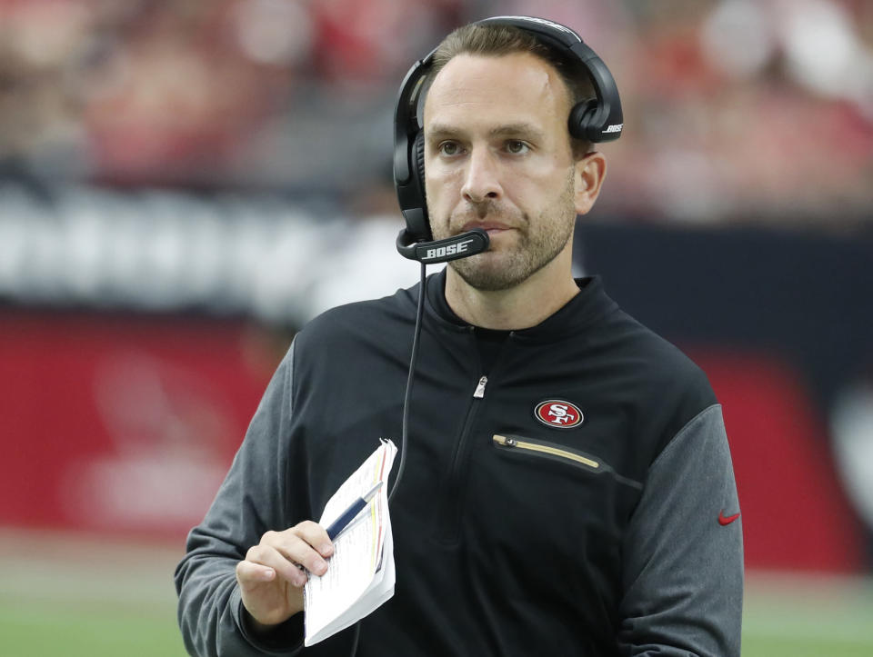 """FILE - This Oct. 1, 2017 file photo shows San Francisco 49ers Jeff Hafley during an NFL football game against the Arizona Cardinals in Glendale, Ariz. Hafley is the new Boston College football coach. Jeffs shown throughout his coaching career he is a tremendous leader with high integrity and a gift for teaching,"""" BC athletic director Martin Jarmond said in a statement Saturday, Dec. 14, 2019. (AP Photo/Rick Scuteri)"""