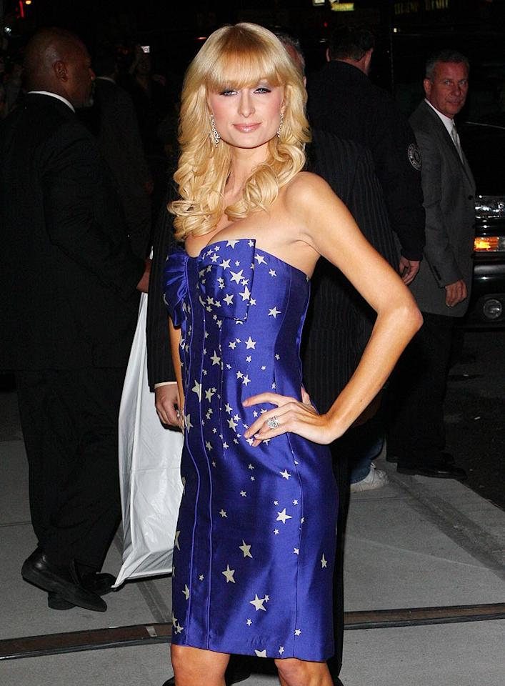 "Paris Hilton donned this patriotic dress on the night before Barack Obama was elected 44th President of the United States. Richie Buxo/<a href=""http://www.splashnewsonline.com/"" target=""new"">Splash News</a> - November 3, 2008"