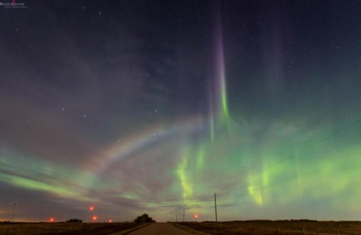 Rare shot of a moonbow and auroras from Alberta goes viral