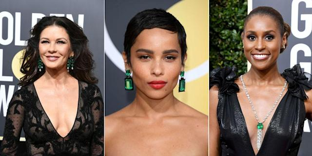Catherine Zeta-Jones, Zoë Kravitz, and Issa Rae all wore emerald jewelry to the Golden Globes. (Photos: Getty Images)