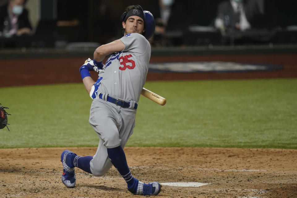 Los Angeles Dodgers' Cody Bellinger swings during the sixth inning in Game 4 of the baseball World Series Tampa Bay Rays Saturday, Oct. 24, 2020, in Arlington, Texas. (AP Photo/Eric Gay)