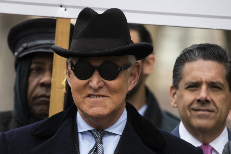 Roger Stone arrives for his sentencing at U.S. District Court in Washington, Thursday, Feb. 20, 2020. (AP Photo/Manuel Balce Ceneta)