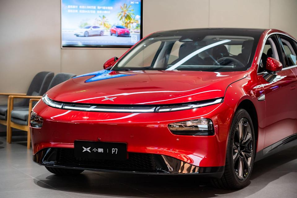 Mandatory Credit: Photo by Alex Tai/SOPA Images/Shutterstock (10925185h)Xpeng Motors P7 electric vehicle seen at a store in ShenzhenBrands and Logos in Shenzhen, China - 5 Oct 2020.
