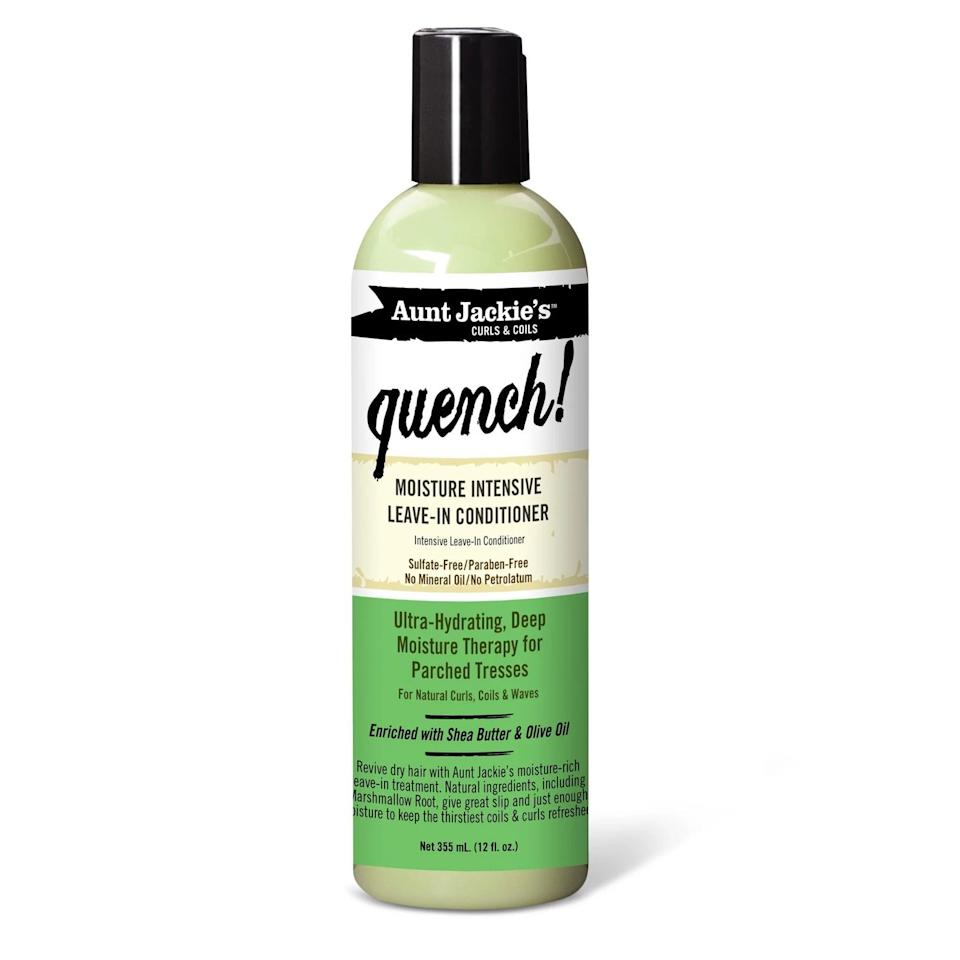 <p>My second-favorite leave-in product of my social distancing hair-care journey is the <span>Aunt Jackie's Curls & Coils Quench Moisture Intensive Leave-In Conditioner</span> ($7). It's another product that's light on my moisture-hungry curls, and it softens my hair without making me feel like I have a ton of product sitting on my hair.</p>