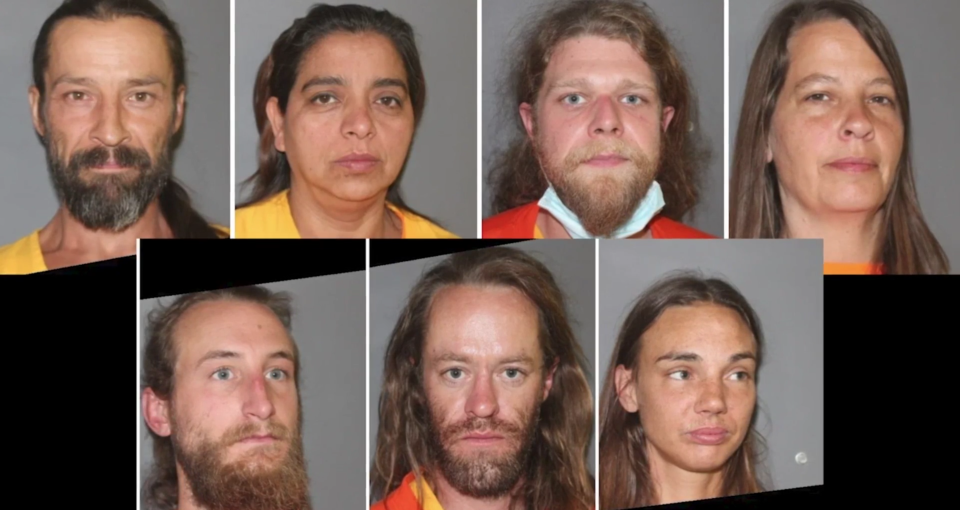 Mugshots of seven people charged after the Love Has Won cult leader was found dead.