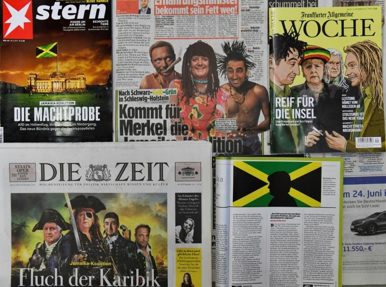 "German newspapers and magazines have poked fun at the so-called ""Jamaica coalition"" being debated between political parties"