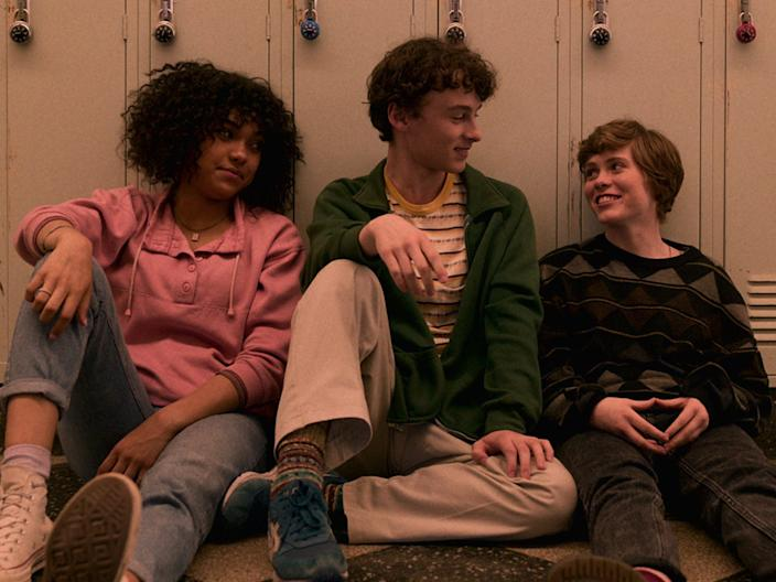 "Sofia Bryant, Wyatt Oleff, and Sophia Lillis costar in ""I Am Not Okay With This."""