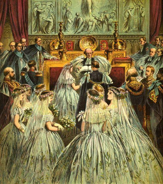 """<p>In the Victoria era, it was considered in vogue to have an all-white wedding—but there were a few ground rules. All bridesmaids had to be younger than the bride, unmarried, and their veils had to be<a href=""""http://www.avictorian.com/weddingattire.html"""" rel=""""nofollow noopener"""" target=""""_blank"""" data-ylk=""""slk:shorter than the bride's"""" class=""""link rapid-noclick-resp""""> shorter than the bride's</a>. </p>"""