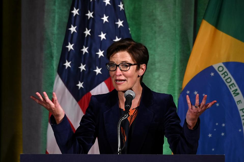 Citigroup Latin America CEO Jane Fraser addresses a Brazil-U.S. Business Council forum to discuss relations and future cooperation in Washington, U.S. March 18, 2019. REUTERS/Erin Scott