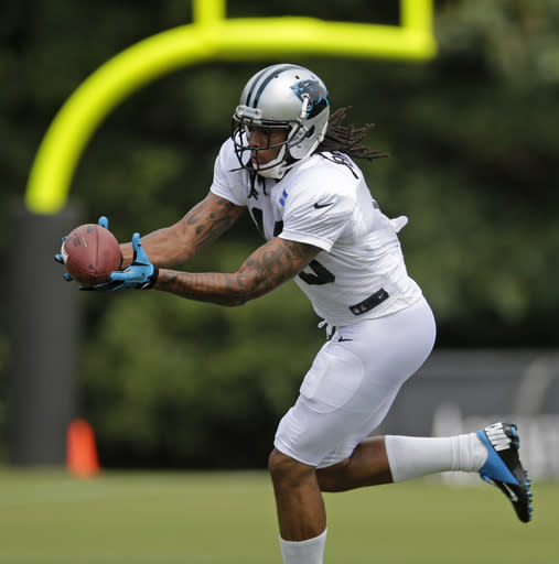 Carolina Panthers' Kelvin Benjamin catches a ball during an NFL football practice at their training camp in Spartanburg, S.C., Sunday, July 27, 2014. (AP Photo/Chuck Burton)