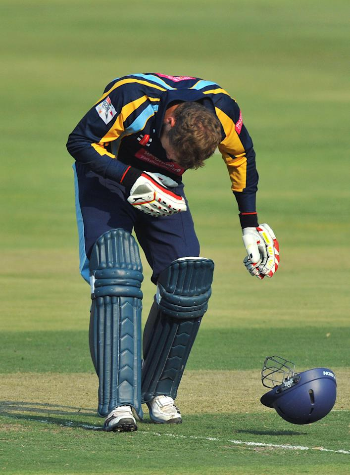 JOHANNESBURG, SOUTH AFRICA - OCTOBER 09:  David Miller of Yorkshire goes down after being struck by a bouncer during the Karbonn Smart CLT20 pre-tournament Qualifying Stage match between Yorkshire (England) and Uva Next (Sri Lanka) at Bidvest Wanderers Stadium on October 09, 2012 in Johannesburg, South Africa.  (Photo by Duif du Toit/Gallo Images/Getty Images)