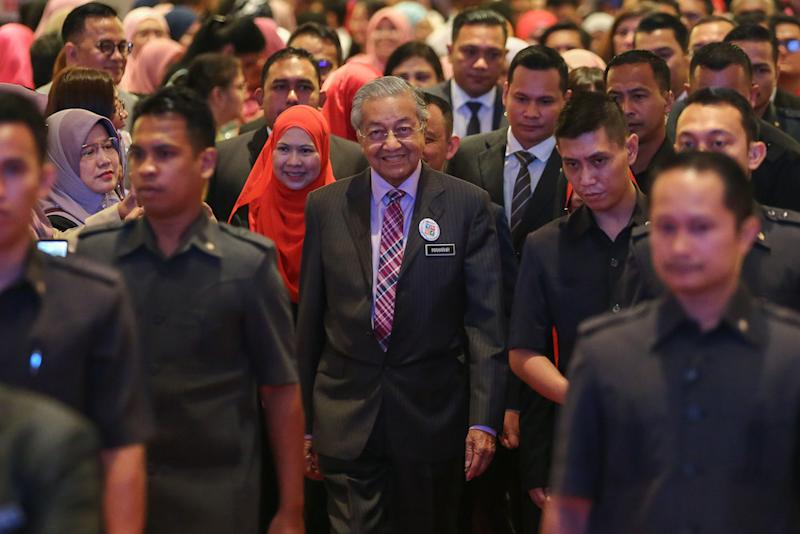 Prime Minister Tun Dr Mahathir Mohamad attends the national civics education launch in Putrajaya August 13, 2019. — Picture by Yusof Mat Isa