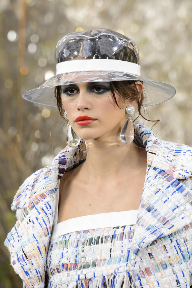 <p><i>Clear PVC bucket hat from the SS18 Chanel collection. (Photo: ImaxTree) </i></p>
