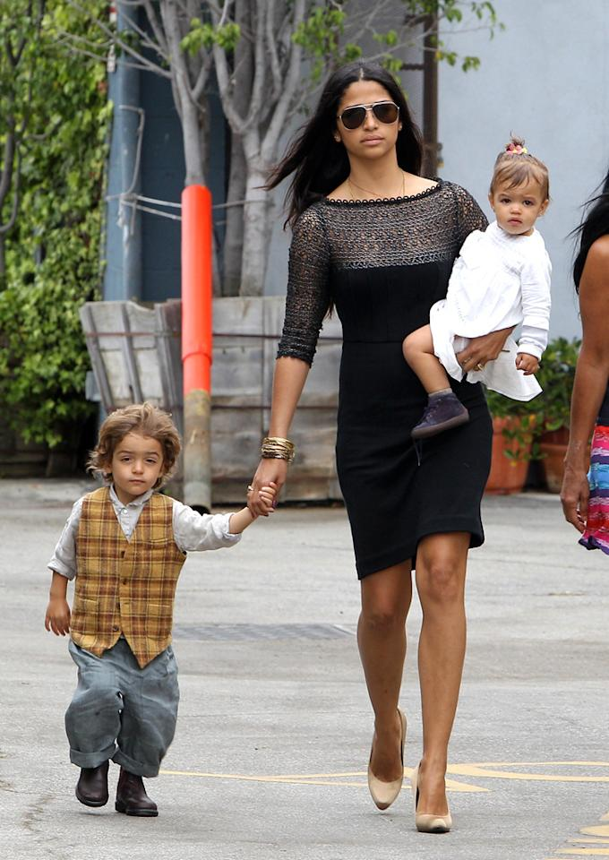 """Matthew McConaughey's lady love, Camila Alves, and their two children, Levi and Vida, were spotted exiting the same service in their Sunday best. Skippy/<a href=""""http://www.infdaily.com"""" target=""""new"""">INFDaily.com</a> - April 245, 2011"""