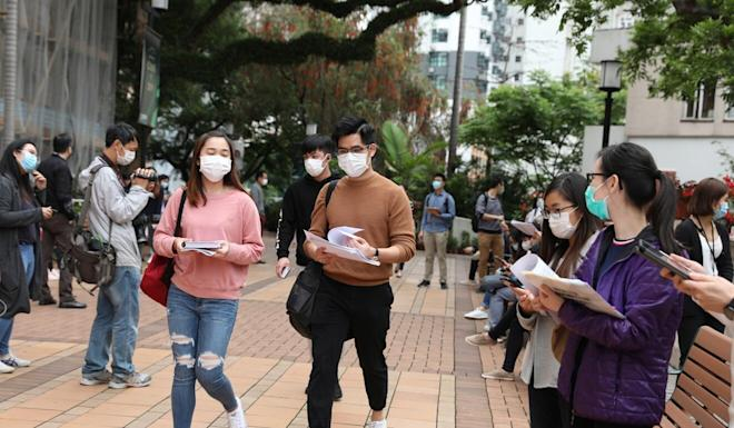 Students with face masks walk through the University of Hong Kong campus in Pok Fu Lam earlier this year. Photo: Nora Tam