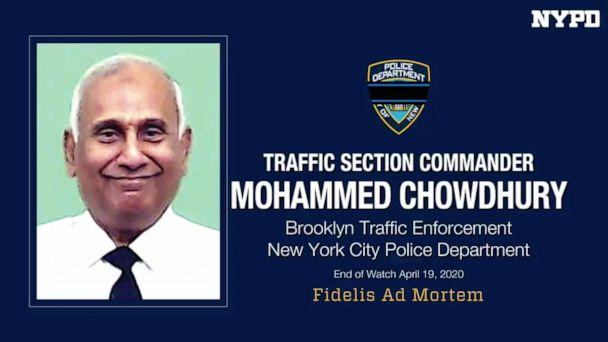PHOTO: A photo shows NYPD Traffic Section Commander, Mohammed Chowdhury. Chowdhury died after showing COVID-19 symptoms, April 19, 2020.  (NYPD)