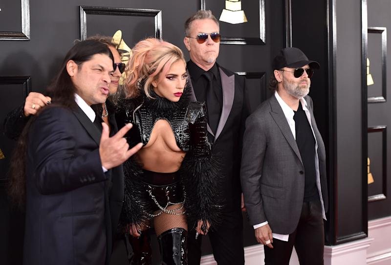 LOS ANGELES, CA - FEBRUARY 12: Recording artist Lady Gaga (C) and recording artists (from L) Robert Trujillo, Kirk Hammett, James Hetfield, and Lars Ulrich of music group Metallica attend The 59th GRAMMY Awards at STAPLES Center on February 12, 2017 in Los Angeles, California. (Photo by John Shearer/WireImage)