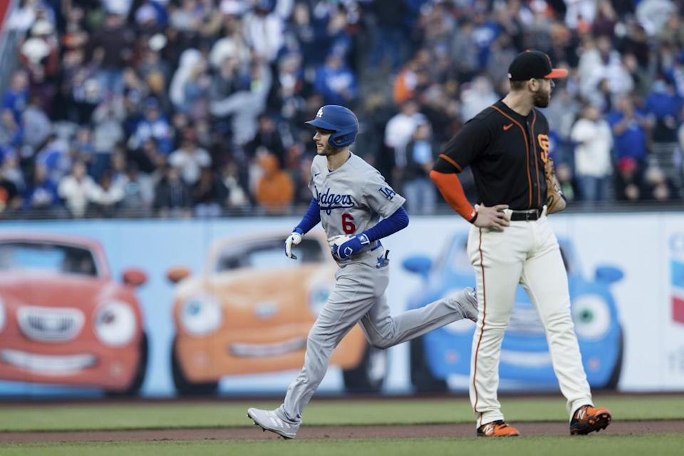 Los Angeles Dodgers' Trea Turner (6) runs the bases after hitting a solo home run against the San Francisco Giants.