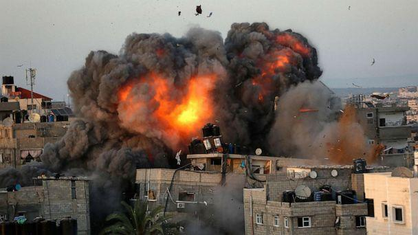 PHOTO: A ball of fire erupts from a building in Gaza City's Rimal residential district May 16, 2021. (Bashar Taleb/AFP via Getty Images)