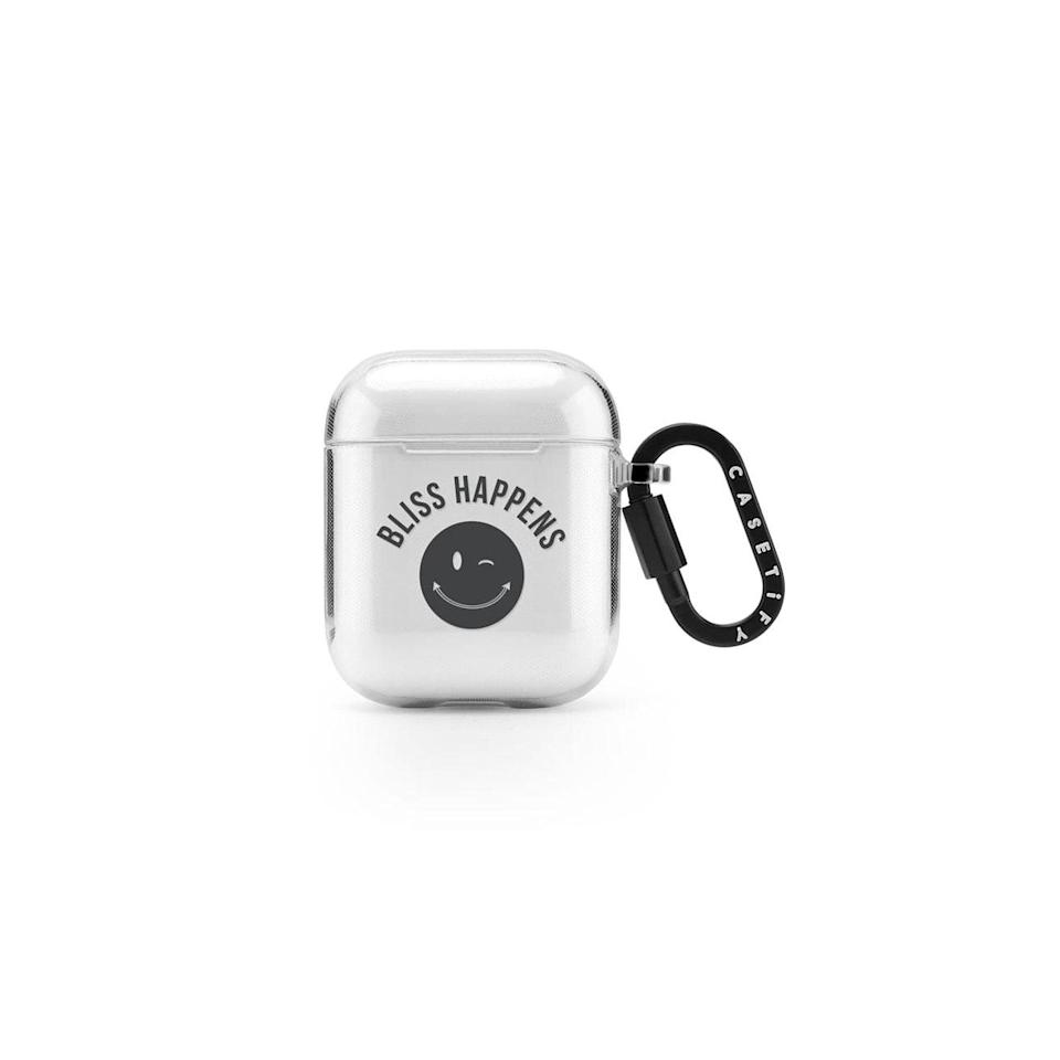 "This year has been anything but easy, so send an uplifting message via this affordable AirPods keychain that will keep the podcast lover's earbuds protected. $35, Casetify. <a href=""https://www.casetify.com/product/Agbpy_bliss-happens/airpod-case/tpu-airpod-case#/16000509"" rel=""nofollow noopener"" target=""_blank"" data-ylk=""slk:Get it now!"" class=""link rapid-noclick-resp"">Get it now!</a>"
